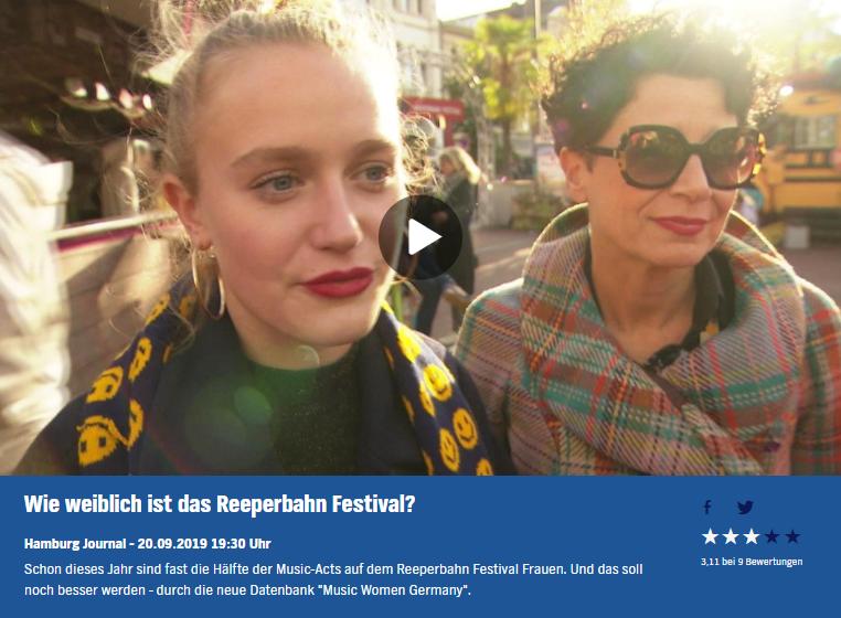 20.09.2019 Kulturjournal: Wie weiblich ist das Reeperbahn Festival?
