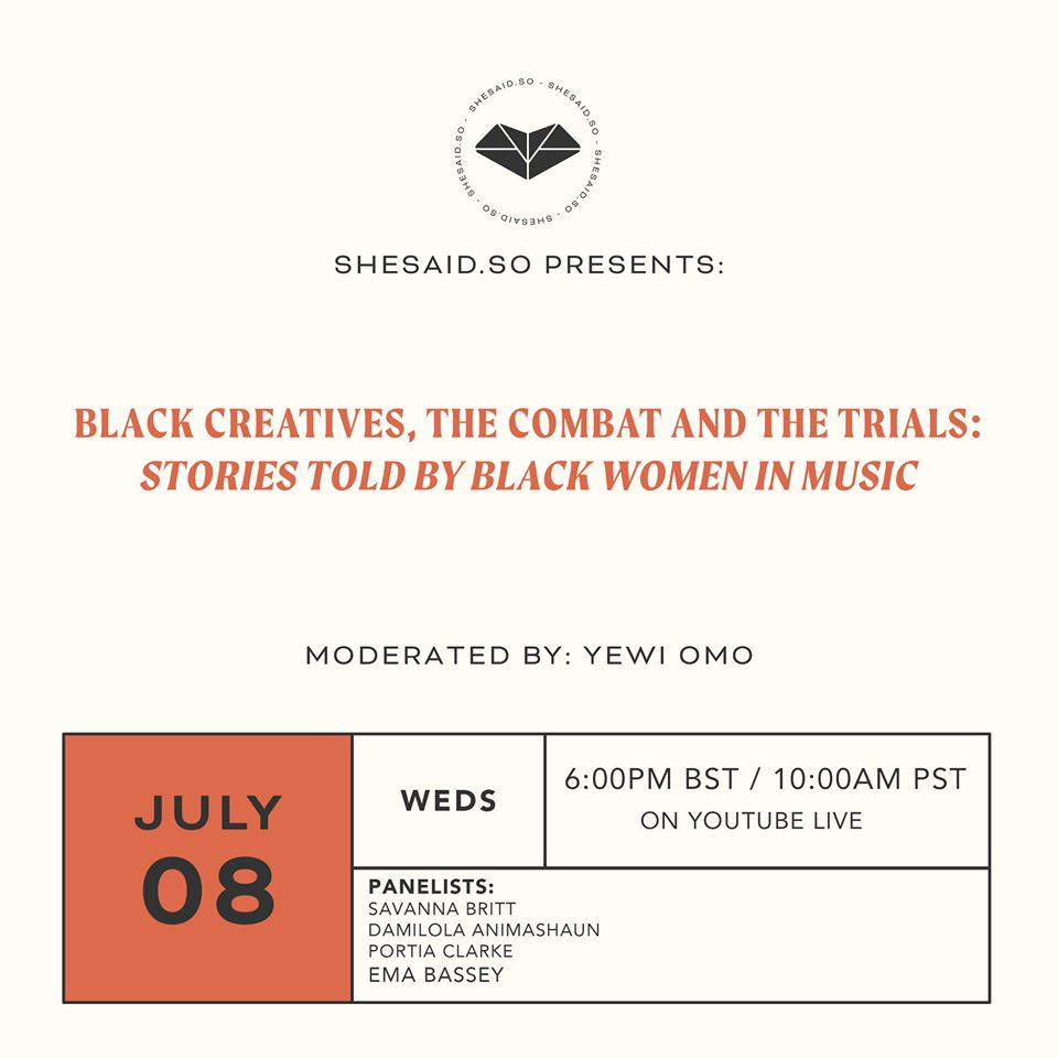 Save The Date: shesaid.so – Panel am 08.07. – Stories Told By Black Women In Music